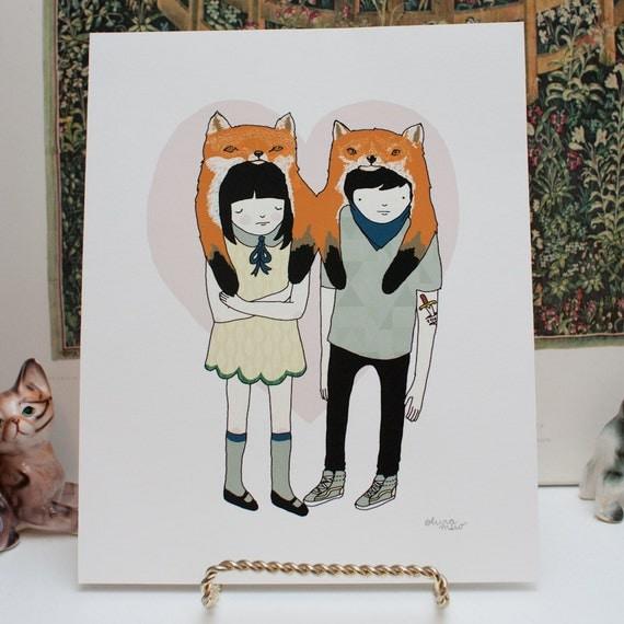 8x10 giclée print - fox gang