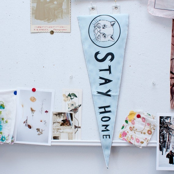 printed pennant flag - stay home