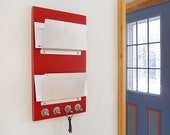 LOLLIPOP: modern red mail organizer wall mount hanging home office dorm studio apartment decor key rack hooks made in maine minimal chic