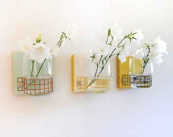 COLORFUL FLOWER VASES, Wall Mount Modern Cottage Design, for Home and Office or Housewarming and Wedding Gift.