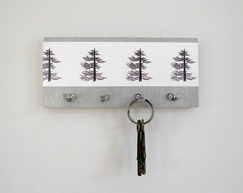 MODERN KEY HOLDER with a Pine Tree Red Tile Studio Print, a Functional Art Piece.