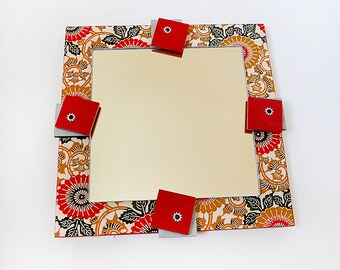 ASIAN MIRROR:  Wall Mounted Great for a Room or Entryway. Japanese Paper Adds a Dimension to the One-of-a-Kind Art Piece