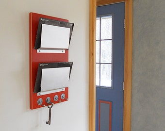 WALL MAIL HOLDER: Minimal Mail Organizer with Key Hooks, Modern Wood Metal Organizer Wall Mount for Home or Office. Get Organized!