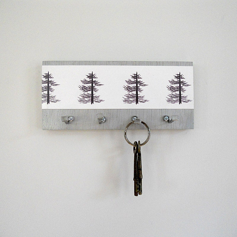 Small Key Wall Decor : Pine key holder wall hooks art print trees by