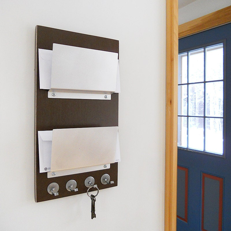 Cocoa Double Mail Letter Holder Wood Wall Mount Key By