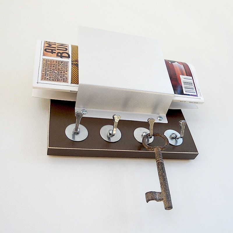 Mocha modern mail holder wall decor home office by pigandfish for Mural key holder