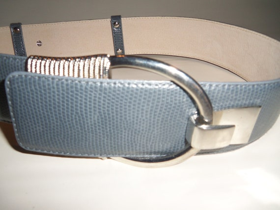 Vintage Gray Leather Belt   Wide with large silver buckle and accents