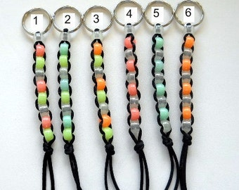 Pony Bead Keychain, glow in the dark beads