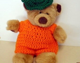 Bear Doll with Crocheted Pumpkin Suit