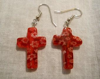 Red Glass Cross earrings