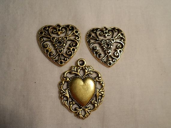Gold Metal Heart Charms, 3pcs