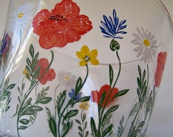 Wildflower Ice Bucket Hand Painted
