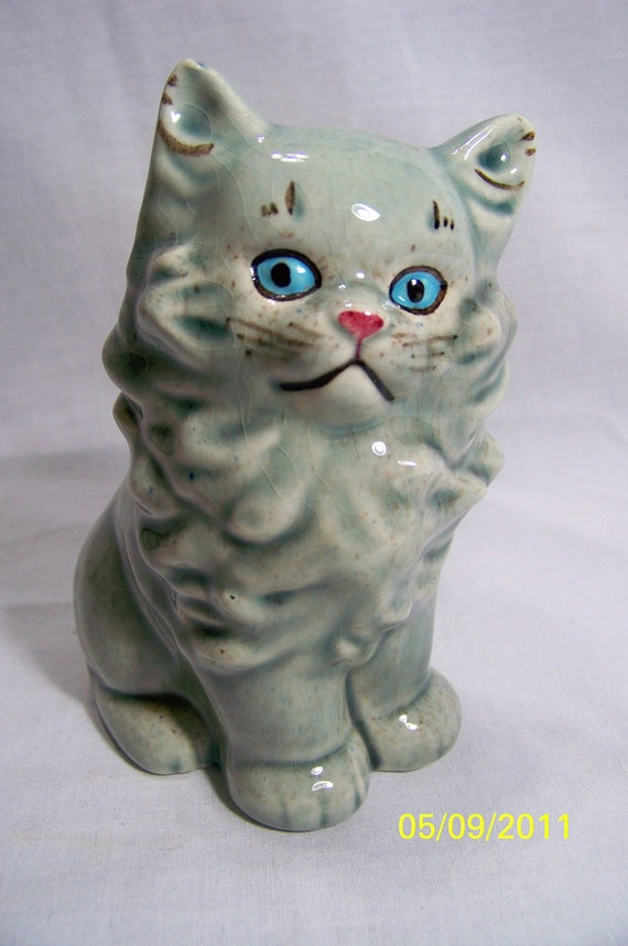 Ceramic Persian Cat Planter Vintage Goldammer