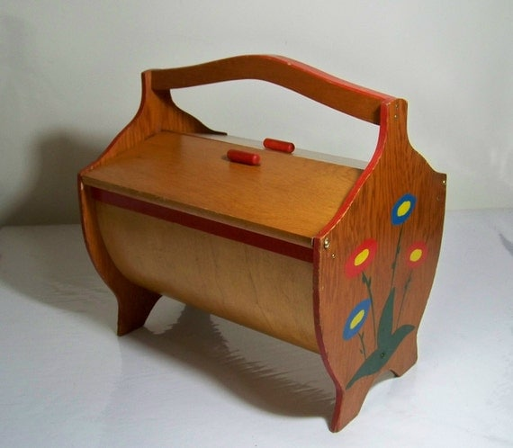 Wood Sewing Box Tole Painted Flowers Bent Wood Bottom