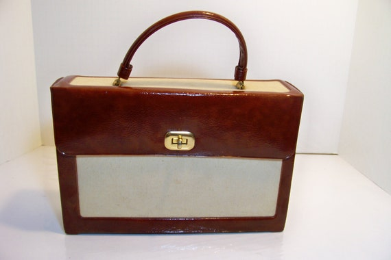 Brown Vinyl and Linen Handbag Purse