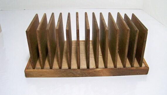 Vintage Wood Cd Holder Desk Top Organizer