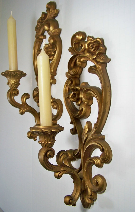 Gold Candle Sconce Pair