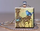 Scrabble Tile Pendant - Blue bird on a Chandelier -Free Silver Plated Ball Chain (B2)
