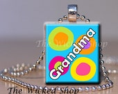 Scrabble Tile Pendant - Grandma - Mother's Day - Free Silver Plated Ball Chain (MD10)
