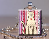 Scrabble Tile Pendant - Cool Cat - On Striped Wall Paper - Free Silver Plated Ball Chain (CC1)