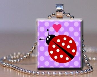 Scrabble Tile Pendant Necklace  - Ladybug