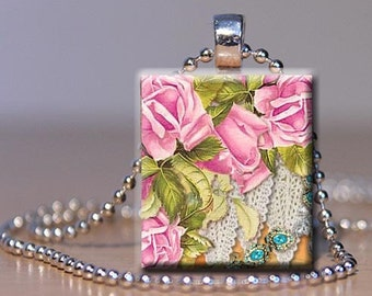 Scrabble Tile Jewlery Pendant - Pink Roses on Lace  -Free Silver Plated Ball Chain (B22)