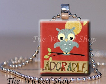 Scrabble Tile Pendant - Adorable Little blue Owl - Free Silver Plated Ball Chain (O8)