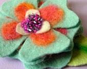 Felted Flower Brooch - Beaded Orange and Sky Blue