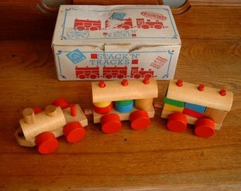 Vintage Wooden Train by Discovery Toys - Stack 'N' Tracks - In Original Box - 1980s Wooden Toy Train