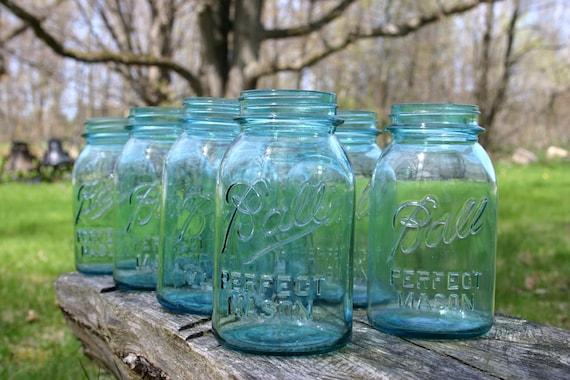 6 Blue Ball Perfect Mason One Quart Jars Weddings Home Decor Vases Collection Displays