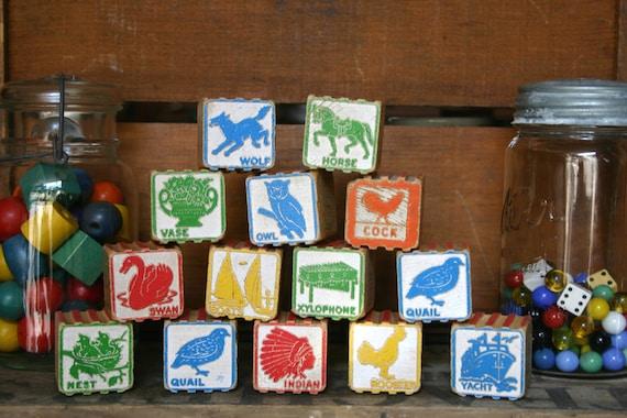Vintage Wooden Blocks - 10 Picture & Alphabet Toy Blocks