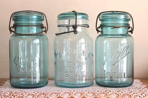 3 Vintage Blue Quart Glass Jars - Quick Seal- Atlas E-Z Seal-Ball Ideal - Glass Lids Wire and Bail - Instant Collection