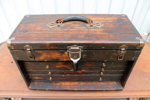 Antique oak tool chest all original wood seven drawer
