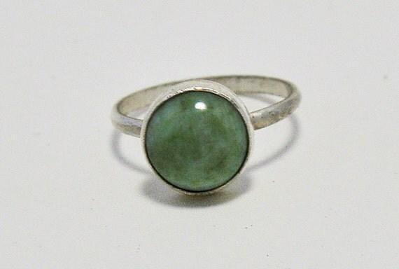 Green Jade Ring, Jade Sterling Silver Ring, handmade jewelry