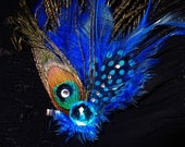 Listing For CATHY -  Hair Clip - Peacock Feathers and Rhinestones