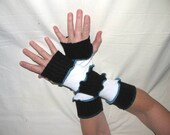Black and White Stripe Arm Warmers with THumb Holes made from Recycled Sweaters - MEDIUM to EXTRA LARGE - Repurposed