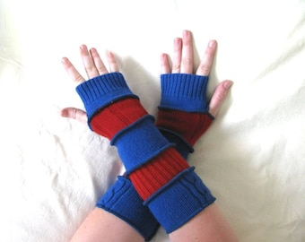 CLEARANCE - Red and Blue Stripe Arm Warmers with Thumb Holes made from Recycled Sweaters - LARGE - Repurposed