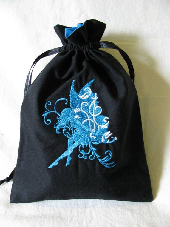 Drawstring Bag with Machine Embroidered Blue Fairy Design - Small - Dice Bag, Tarot, Wristlet