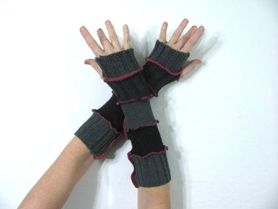 Gray & Charcoal Stripe Arm Warmers with BRIGHT Pink Stitching and Thumb Holes made from Recycled Sweaters - MEDIUM - Repurposed