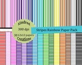 Stripes Rainbow Digital Paper Pack 300 dpi 12x12 30 papers For Personal or Small Business Use