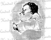 Sleeping Angel 300 dpi Digital Image Download Transfer For T Shirts Tea Towels Totes Napkins 053 Personal and Commercial Use