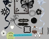 Black and White Digital Embellishment Set 300 dpi printable clipart small business use for announcements, invitaions and scrapbooking