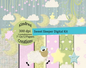 Sweet Sleeper Digital Kit 300 dpi 12x12 7 papers 13 clipart embellishments-Personal and Commercial Use