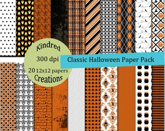 Classic Halloween 8.5x11 Digital Paper 300 dpi Printable small business use