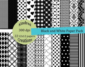 Black and White 12x12 Digital 22 page Paper Pack 300 dpi Printable small business use