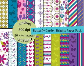Butterfly Garden Brights 8.5x11 Digital Paper Pack 300 dpi Printable Small Business Use