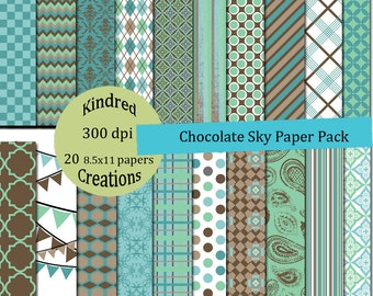 Chocolate Sky 8.5x11 Digital Paper Pack 300 dpi Printable small business use for announcements, cards, scrapbooking