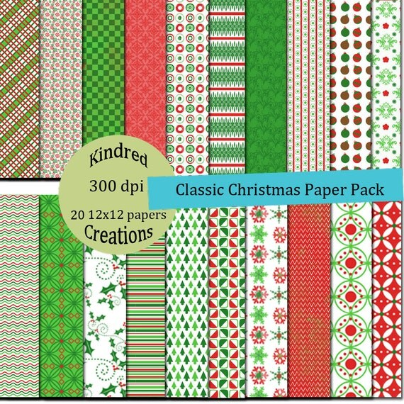 Classic Christmas Digital Paper Pack 300 dpi 8.5x11 20 papers For Personal or Small Business Use