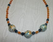 Orange and Blue Glass beaded necklace with earrings