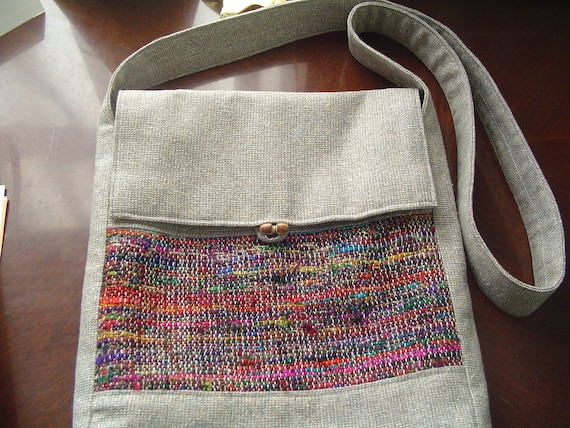 ipad bag with shoulder strap in warm gray